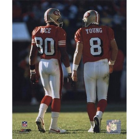 Steve Young Jerry Rice backs to camera Sports Photo - 8 x (Steve Young Jerry Rice)