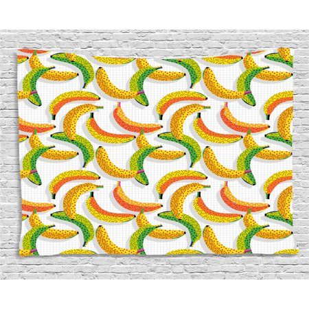Fruits Tapestry, Retro Pop Art Trippy Banana Fractal Minimalist 80s Geometric Abstract, Wall Hanging for Bedroom Living Room Dorm Decor, 60W X 40L Inches, Earth Yellow Pearl Green, by Ambesonne](80s Room Decor)