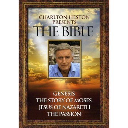 Charlton Heston Presents The Bible (4 Pack DVD) The stories were told through the generations, stories of what had happened and what was to come.  The best stories there ever were,  Charlton Heston says about these Biblical accounts. Academy Award(R) winner Heston (Best Actor for 1959's  Ben-Hur ) takes viewers to authentic Holy Land locales, drawing on the King James text and his remarkable storytelling skills to narrate these inspiring tales rooted in faith.  Genesis : In the beginning. Revisit the wonder of creation, the story of Adam and Eve, the time of Noah, the Great Flood and more.  The Story Of Moses : I have been a stranger in a strange land. The clashes with Pharaoh, the Exodus and Red Sea's parting, the 10 Commandments - all part of the tale of the leader and lawgiver.  Jesus Of Nazareth : For unto you is born this day. Explore His ministry, miracles and message against backdrops that include the Jordan River, the Mount of the Beatitudes and more.  The Passion : Peace be unto you. The Garden of Gethsemane, the Via Dolorosa and other sites provide settings for a powerful exploration of Jesus's trial, crucifixion and resurrection. Featurette.  Charlton Heston: Behind the Scenes .