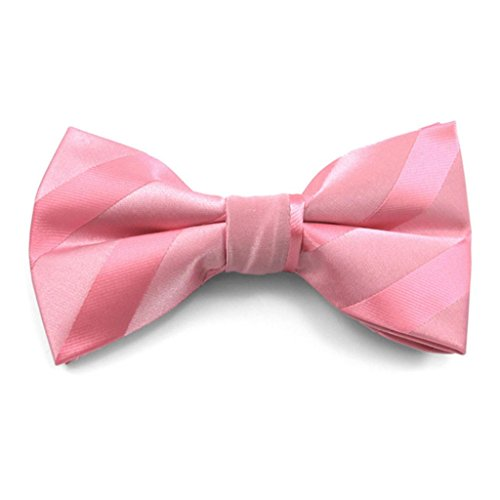 Pink Solid Color Tonal Stripe Clip on Bow Ties