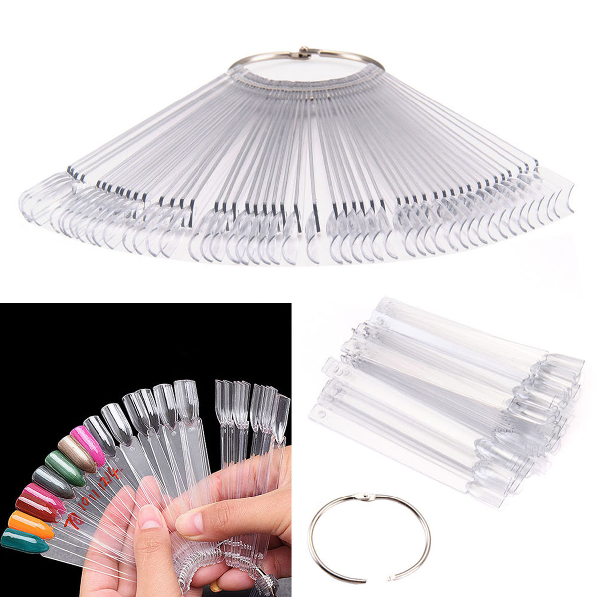 50pcs Nail Art Tips Colour Pop Sticks Display Fan Practice Starter Ring Clear DIY