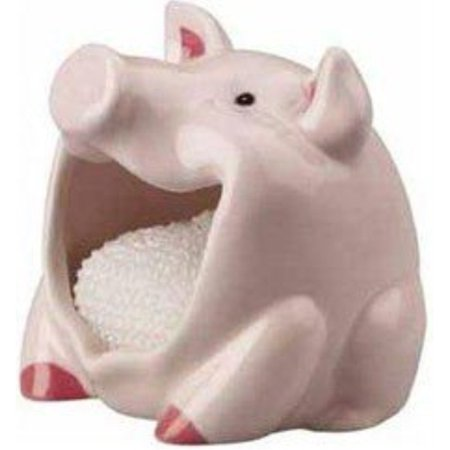Finely Hand Painted Ceramic (pig scrubby holder & non-scratch dish scrubber, hand painted ceramic by boston warehouse (75110))