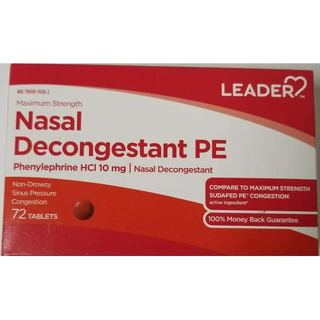 Pe Nasal Decongestant - Leader Nasal Decongestant PE, 72 Tablets Per Box