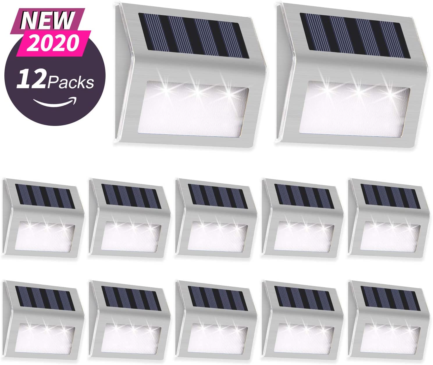 Details about  /Solar Deck Step Wall Lights Stairs Fence Solar Lamp Outdoor Pathway Patio Light