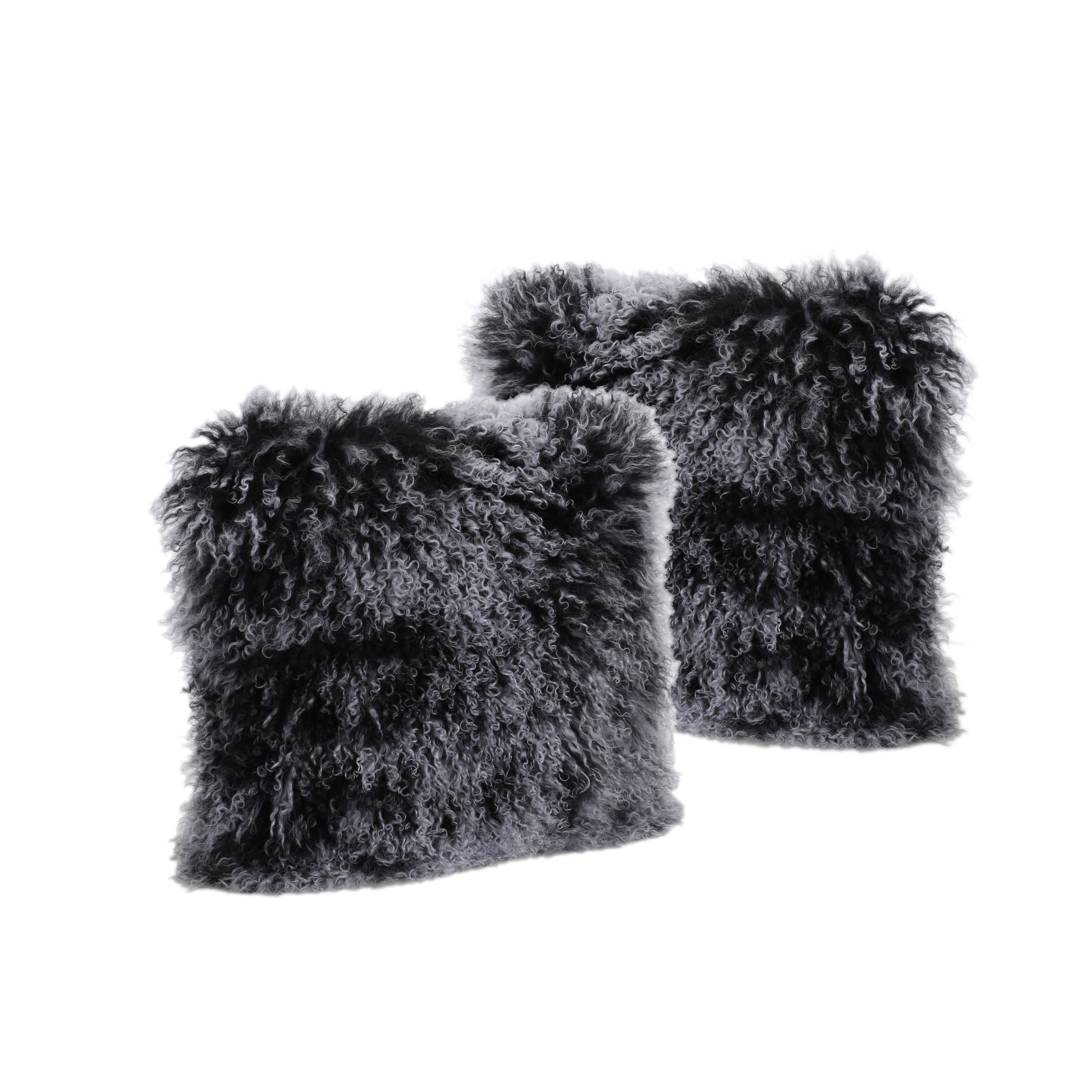 Marybelle Shaggy Lamb Fur 16 x 16 Square Pillows, Set of 2, Black Snow Top