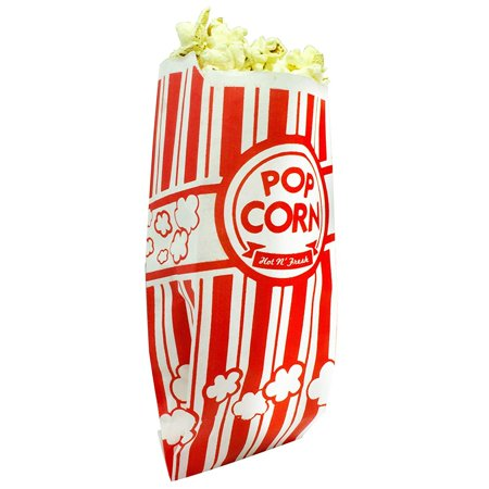 Popcorn Bags. Coated for Leak/Tear Resistance. Single Serving 1oz Paper Sleeves in Nostalgic Red/White Design. Great Movie Theme Party Supplies or for Old Fashioned Carnivals & Fundraisers! (100) - Carnival Supplies