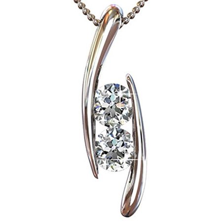Cate & Chloe McKenna 18k White Gold Pendant Necklace with Swarovski Crystals, Womens Classic Beautiful Sparkle Round Cut Diamond Crystal Silver Necklace, MSRP $165