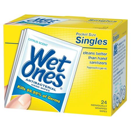 Wet Ones Antibacterial Hand Wipes Singles, Citrus Scent, 24