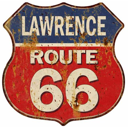 LAWRENCE Route 66 Blue Red Shield Sign Man Cave Garage 12x12 Gift Decor S128352](The Cave Lawrence Halloween)