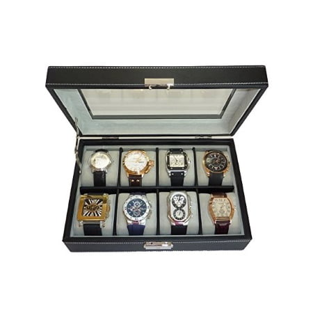 8 Black Leatherette Watch Box Display Case Collection Jewelry Box Storage Glass Top for 8 Oversized Watches up to 60 mm Displays Black Leatherette