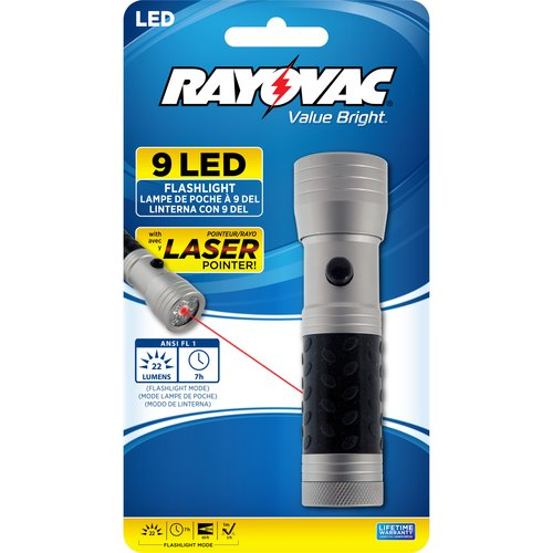 Rayovac Value Bright 9-LED Flashlight with Laser Pointer
