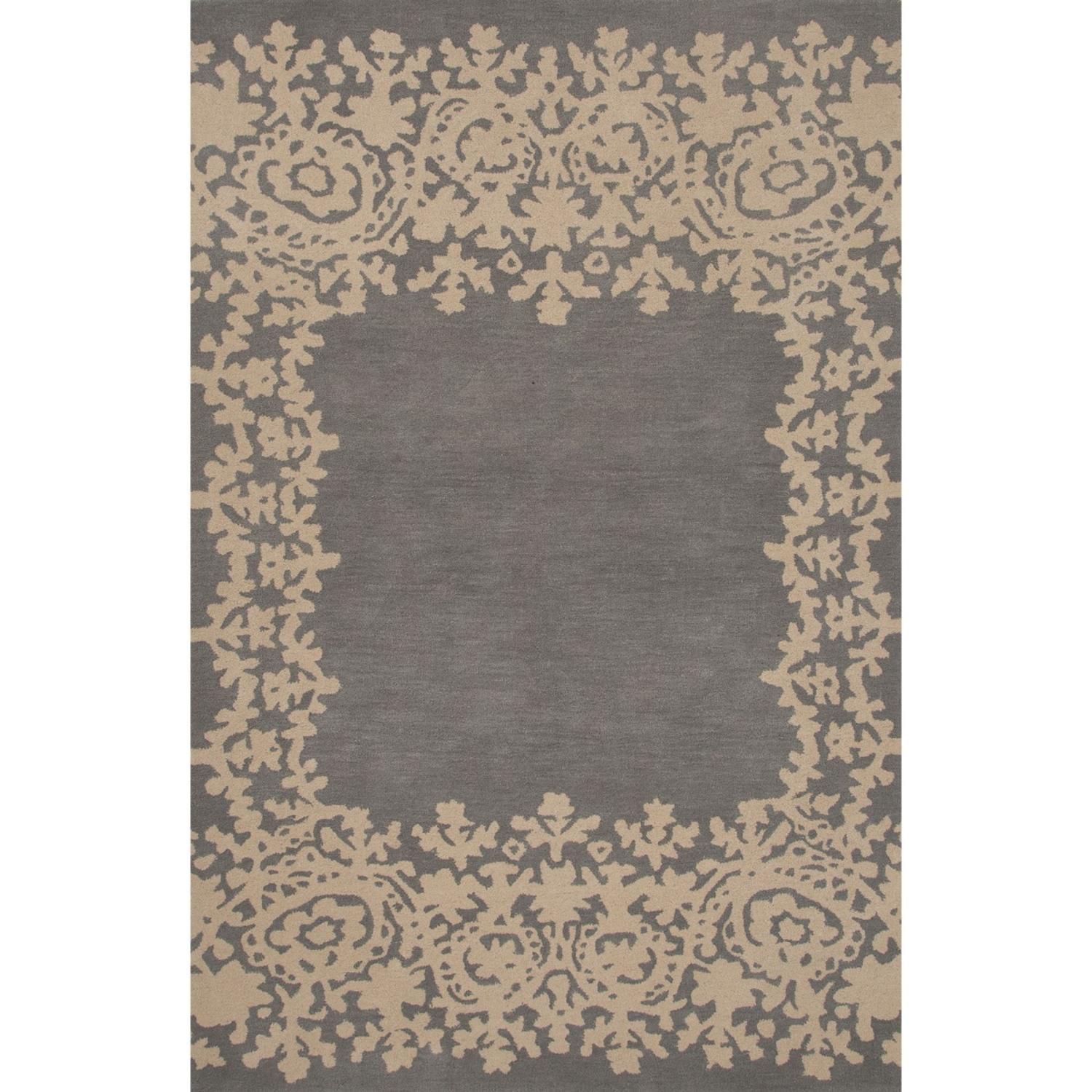 2' x 3' Stone Gray and Ash Gray Tisza Modern Hand Tufted Wool Area Throw Rug