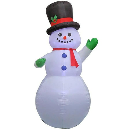 Home Accents Holiday 9 ft. Inflatable Airblown Snowman Wearing Top Hat Waving in Top Hat - Halloween Snowman