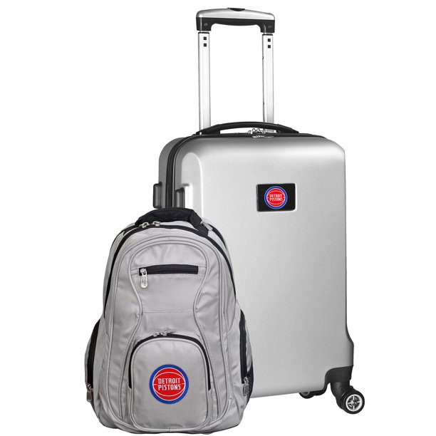 Detroit Pistons Deluxe 2-Piece Backpack and Carry-On Set - Silver