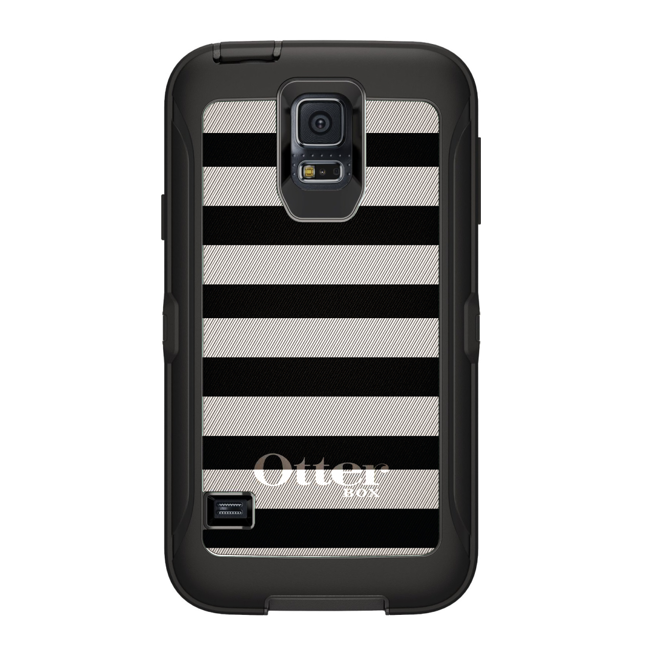 CUSTOM Black OtterBox Defender Series Case for Samsung Galaxy S5 - Black & White Bold Stripes
