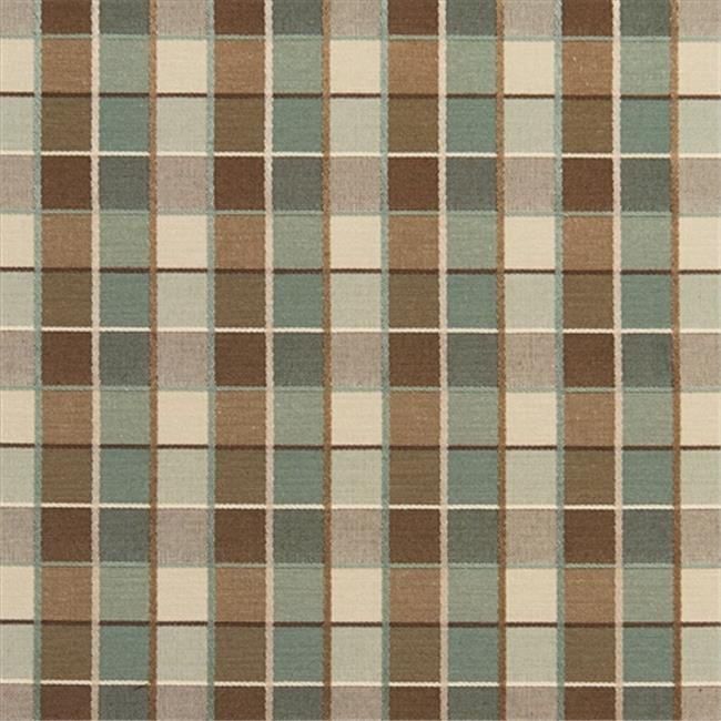 Designer Fabrics U0140E 54 in. Wide Teal, Brown And Cream Checkered Silk Satin Upholstery Fabric