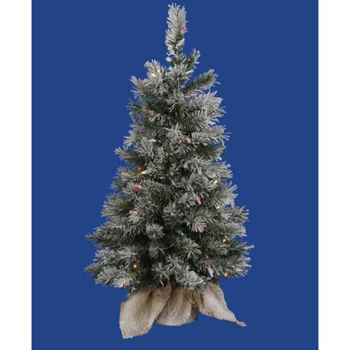 2.5' Pre-Lit Flocked Jackson Pine Christmas Tree in Burlap Sack Multi LED Lights