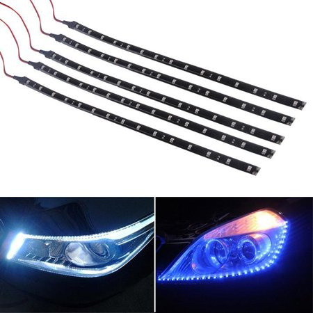 Hascon 5 x 15 LED 30cm Car Motor Vehicle Flexible Waterproof Strip Light Blue/ White 12v HITC