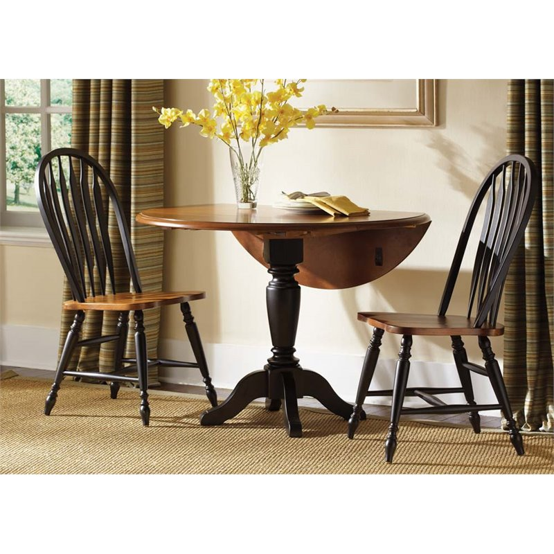 Liberty Furniture Low Country 3 Piece Drop Leaf Dining Set in Black