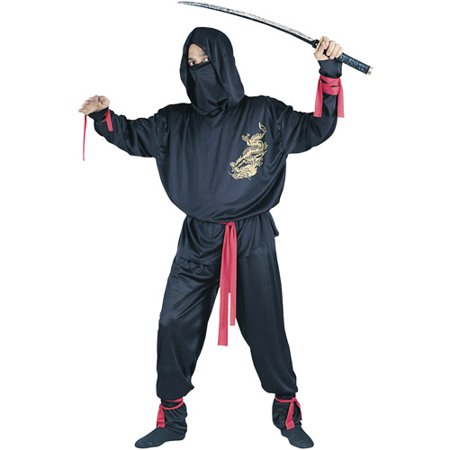 Ninja Fighter Adult Halloween Costume, Size: Up to 200 lbs - One Size](Adult Ninja Costumes)