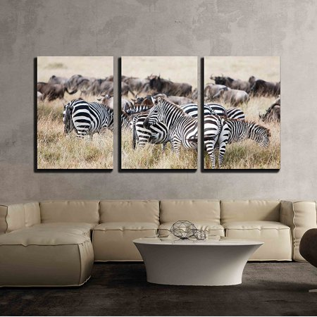 """wall26 3 Piece Canvas Wall Art - Herd of Wildebeest and Zebra Grazing Together on Grasslands of African Savanna - Modern Home Decor Stretched and Framed Ready to Hang - 16""""x24""""x3 Panels"""