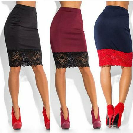 Sexy Women Formal Stretch High Waist Short Bodycon Mini Lace Skirt Pencil Dress