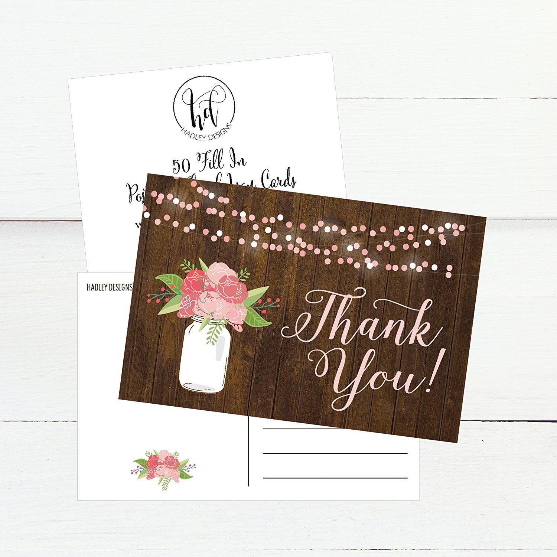 50 4x6 Rustic Floral Thank You Postcards Bulk, Modern Cute Flower ...