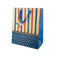 Kole Imports KL394-24 10.25 x 5.625 x 12.625 in. Large Stars & Stripes Gift Bag - Pack of 24
