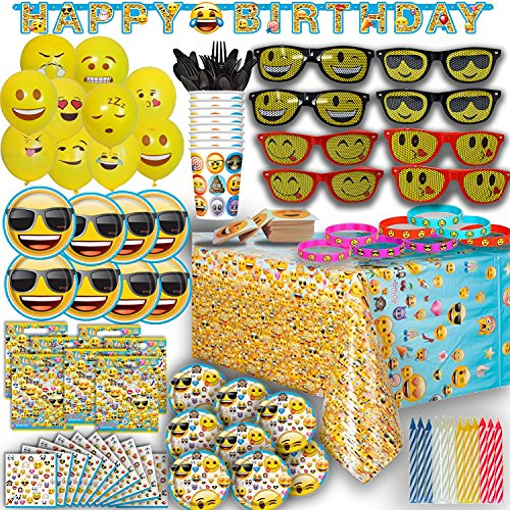 Ultimate Emoji Birthday Party Supplies for 8 - Plates, Cups, Napkins, Banner, Balloons, Sunglasses, Bracelets, Tattoos, Candles and more