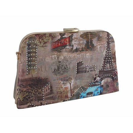 Famous Landmarks Rhinestone Metal Frame Clutch Purse w/Removable Strap