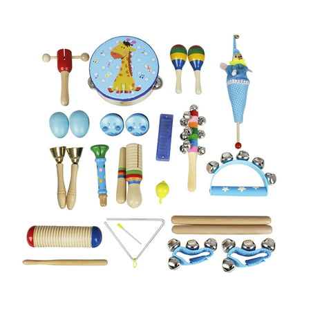 Musical Toys Percussion Instruments Band Rhythm Kit for Kids Children  Toddlers with Tambourine Wooden Guiro Handbells Maracas Small Trumpet  Harmonica