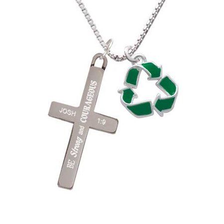 Green Enamel Cross (Green Enamel Recycle Symbol - Strong and Courageous - Cross Necklace )