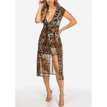 Print Surplice Dress - Womens Juniors Brown Cheetah Print Cap Sleeve Surplice Lightweight High Low Dress 40944I