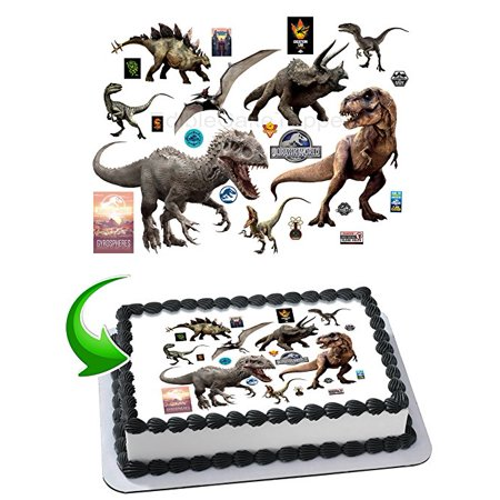 Jurassic World Tyrannosaurus Dinosaurs Cake Edible Image Cake Topper Personalized Birthday 1/4 Sheet Decoration Party Birthday Sugar Frosting Transfer Fondant Image Edible Image for cake (Dinosaur Cake Ideas)