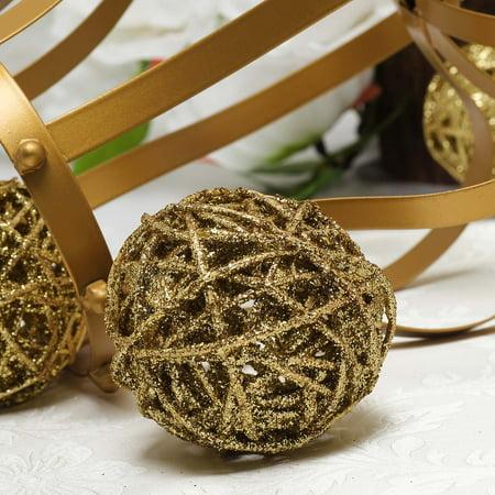 BalsaCircle 6 pcs 3-Inch Gold Glittered Twig Rattan Balls Orbs Vase Filler Set Wedding Party Home Crafts Centerpieces Decorations ()