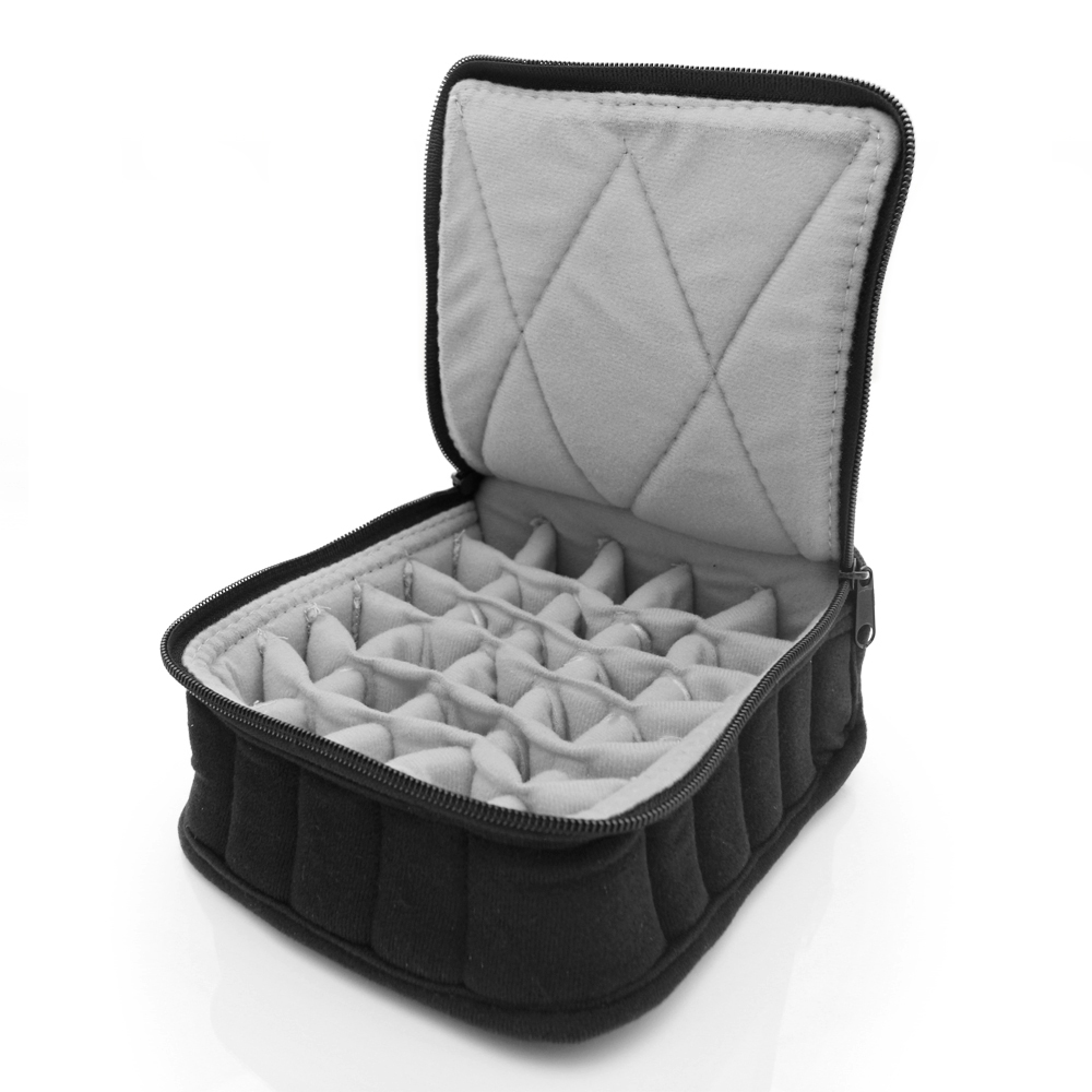 "Essential Oil Carrying Case, 3"" High, 5-15ml, 30-Bottle, Solid, Black w/Grey"