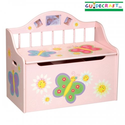 Guidecraft Butterfly Pink Kids Child Wood Toy Box