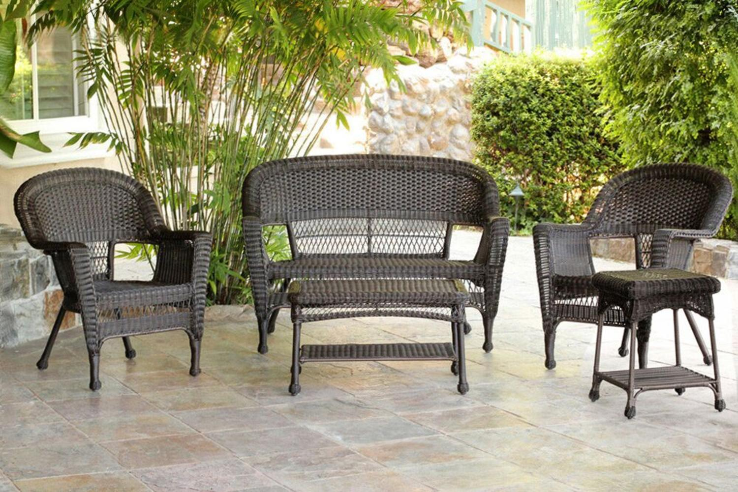 5-Piece Espresso Resin Wicker Patio Chairs, Loveseat and End Table Furniture Set by Resin Furniture