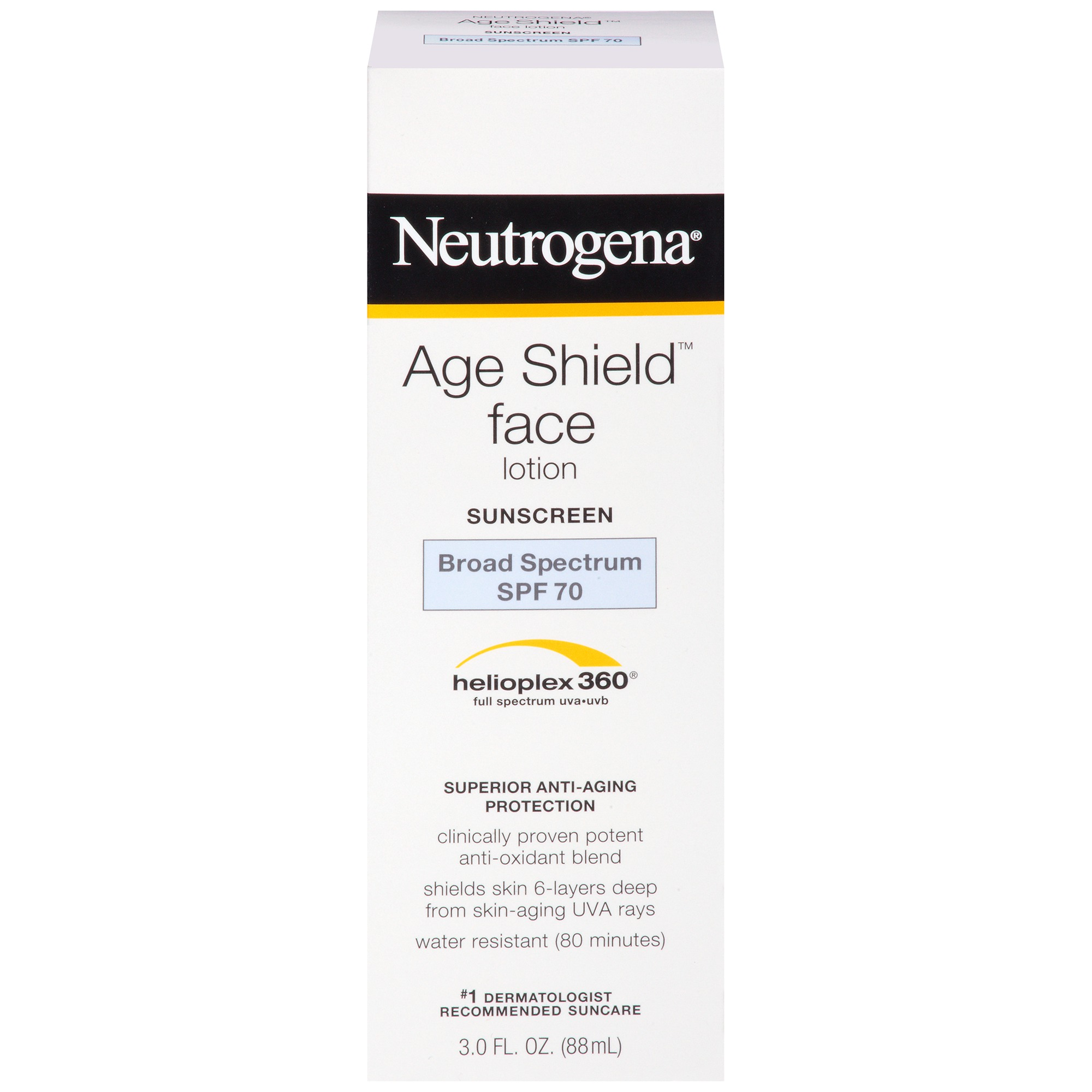 Neutrogena Age Shield Anti-Oxidant Face Lotion Sunscreen, Broad Spectrum Spf 70, Oil-Free Sunscreen, Travel Size 3 Fl. Oz.