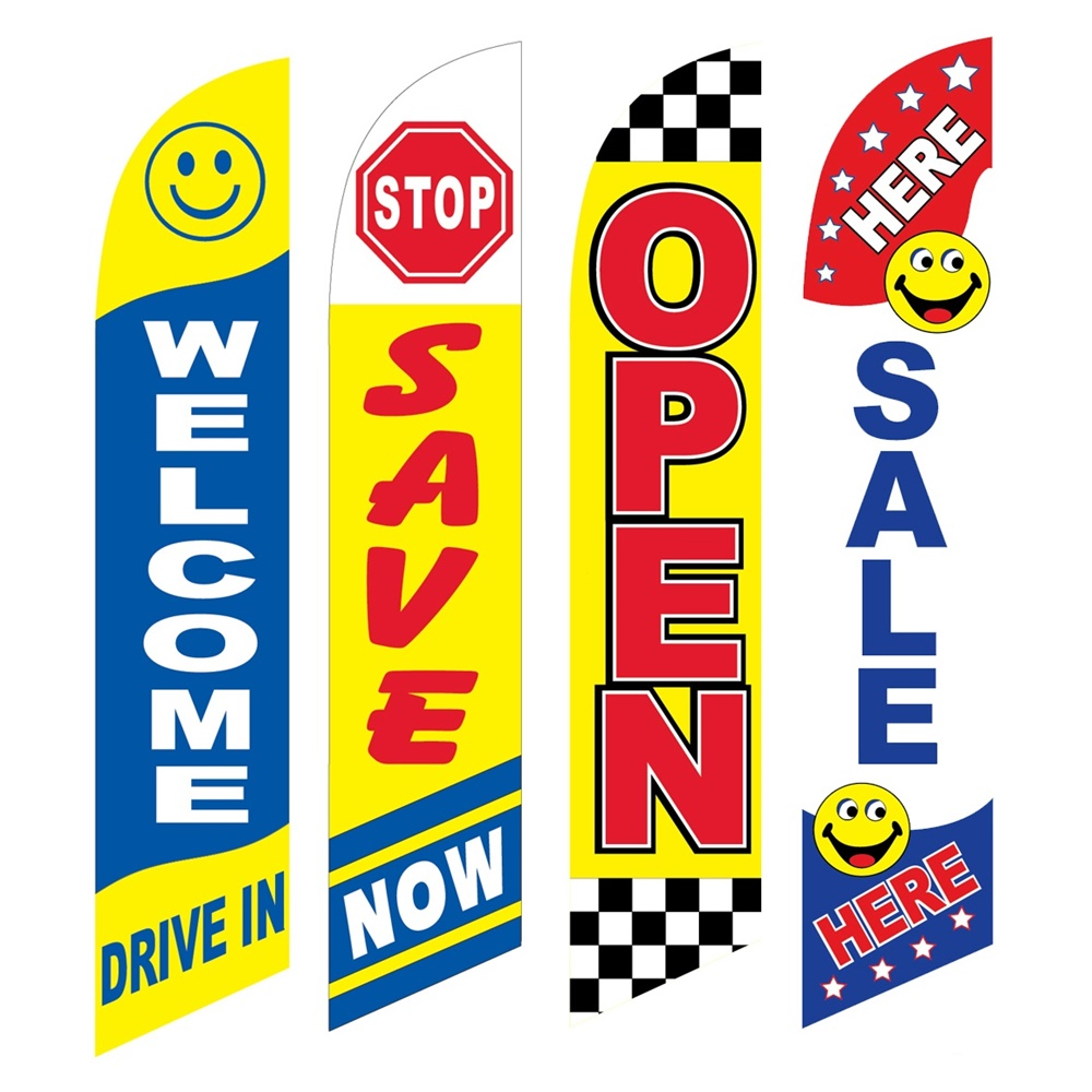 4 Advertising Swooper Flags Welcome Drive In Stop Save Open Sale Here