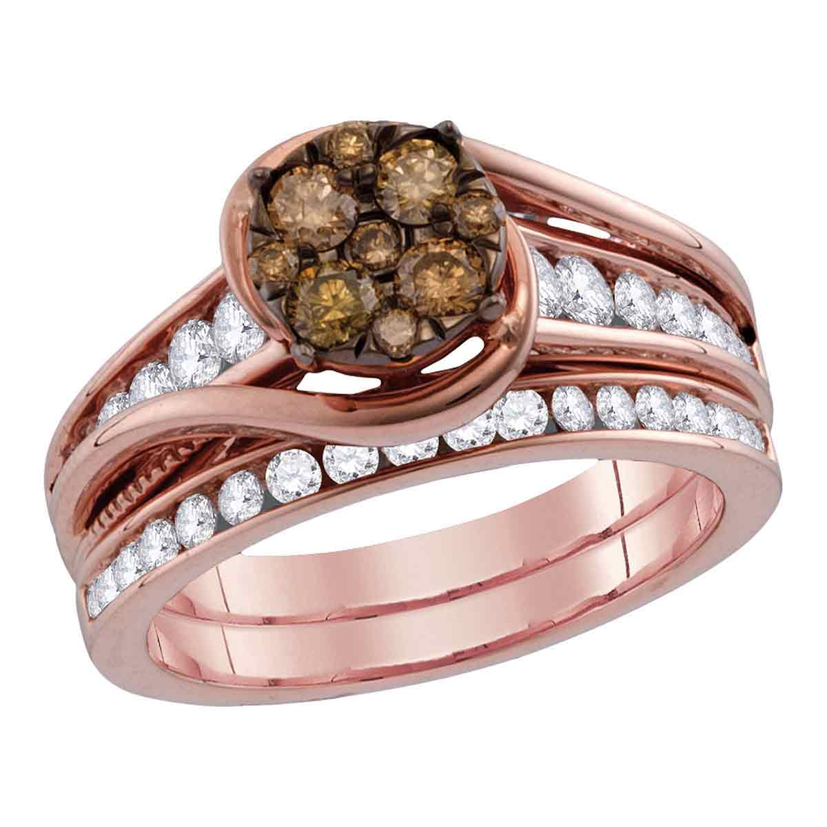 Colored Diamond Wedding Ring Sets: 14kt Rose Gold Womens Round Cognac-brown Colored Diamond