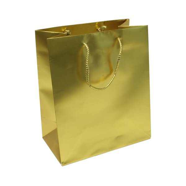 JAM Foil Gift Bags - Medium - 8 x 10 x 4 - Gold - 100 per...