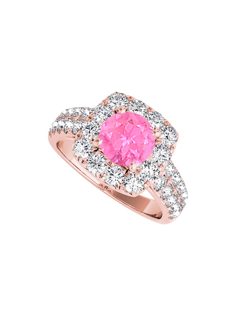 Halo Ring with Pink Sapphire Cubic Zirconia in 14K Rose Gold by Love Bright