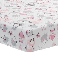 Lambs & Ivy Friendship Tree White/Pink Woodland Owl Fox Baby Crib Fitted Sheet