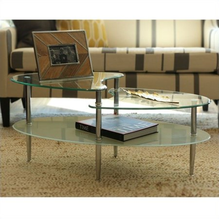 Wave Oval Glass 2-Tier Coffee Table, Multiple Colors
