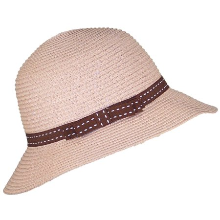 Tropic Hats Womens Cloche Sun Packable Cap W/Dotted Line Band & Bow (One Size) - (Womans Cloche Hat)