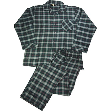 2 Piece Flannel Pajama Set (NORTY Mens Flannel 2 Piece Pajama Sets - 100% Brushed Cotton Flannel - 8 Prints, 40777 Hunter-Red Plaid /)