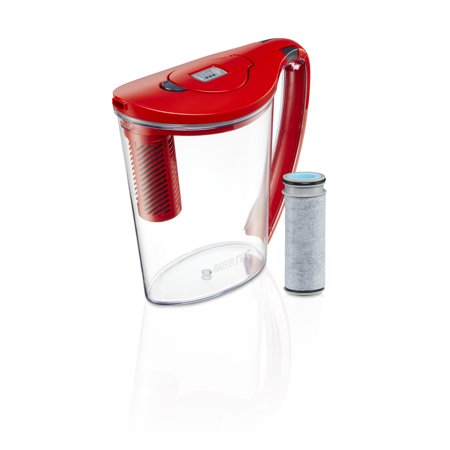 Brita 10 Cup Stream Filter As You Pour Water Pitcher With 1 Filter  Hydro  Bpa Free  Chili Red