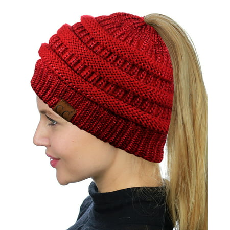 687079dd8 C.C BeanieTail Soft Stretch Cable Knit Messy High Bun Ponytail Beanie Hat,  Red Metallic