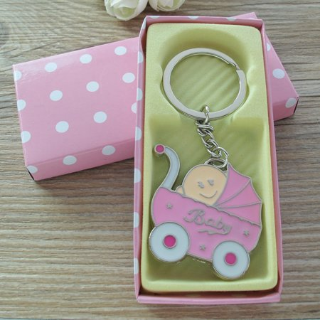 Personalized Party Favors For Baby Shower (Baby Shower Stroller Party Favor (12PCS) for Girl Key Ring Recuerdos de mi Baby Shower de Niña Pink Gift Box)